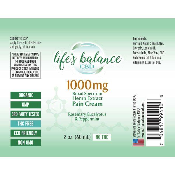 1000mg Extra Strength CBD Pain Cream 2.0 oz label