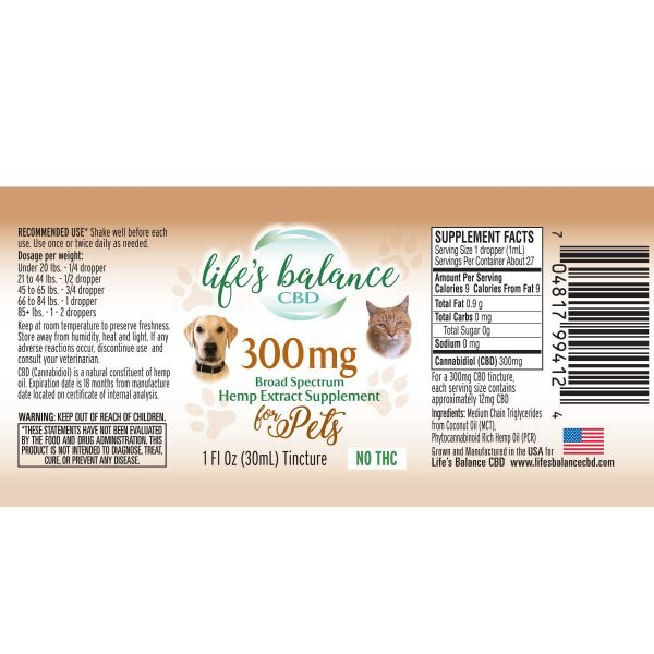 300MG Broad Spectrum Hemp Extract for Pets label